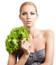 Portrait sensual woman model makeup holding green salad isolated white Stock Image