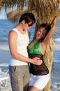 Portrait of a sensual young couple on the beach Stock Photos