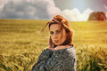 Portrait of sensual young red hair woman on breathtaking view of Royalty Free Stock Photo