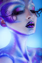 Portrait of sensual young woman with creative body art and close Royalty Free Stock Photo