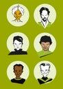 Diversity Men Faces- Cartoon Royalty Free Stock Photo