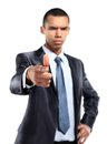 Portrait of serios african business man pointing at you against white background Royalty Free Stock Image