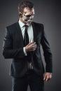 Portrait serious businessman  makeup skeleton Royalty Free Stock Photo