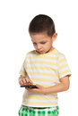 Portrait serious little boy smartphone Royalty Free Stock Photo