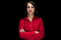 Portrait serious woman in shirt with arms crossed Royalty Free Stock Photo