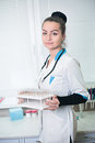 A portrait of sexy beautiful midicine nurse doctor in a white go Royalty Free Stock Photo