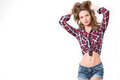 Portrait of sexy girl in checkered shirt and denim shorts beauty and fashion Stock Photos