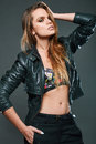 Portrait of sexy model wearing leather jacket Royalty Free Stock Photo