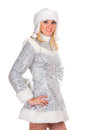 Portrait of a sexy smiling snow maiden isolated Stock Photography