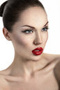 Portrait of sexy woman with red lips Stock Photos