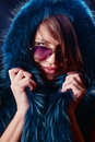 Portrait of a sexy woman wearing winter coat Royalty Free Stock Images
