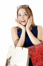 Portrait of shopping happy girls against white background Royalty Free Stock Image