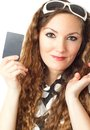 Portrait of shopping woman holding credit card Royalty Free Stock Images