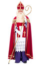 Portrait of sinterklaas with staff on a white background Stock Photo