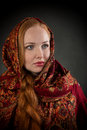 Portrait of slavonic girl with red braided hair Stock Photos