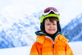 Portrait of small boy in ski mask and helmet Royalty Free Stock Photo