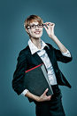 Portrait of a smart business woman holding a folder Stock Photography