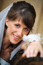 Portrait of the smile bride in home environment Stock Photo