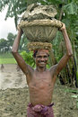 Portrait of smiling bangladeshi construction worker bangladesh this laughing bare chested laborer carries a heavy basket with soil Royalty Free Stock Photography