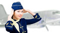 Portrait of smiling beautiful stewardess