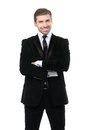 Portrait of smiling business man with arms crossed isolated over white background Royalty Free Stock Image