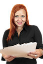 Portrait of smiling business woman with blank paper Royalty Free Stock Photo