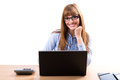 Portrait of smiling business woman with laptop isolated white Stock Photography