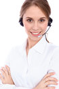 Portrait of smiling cheerful young support phone operator in headset, isolated over white background Royalty Free Stock Photo