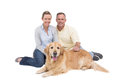 Portrait of smiling couple sitting together with their dog on white background Royalty Free Stock Photos