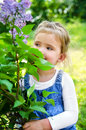 Portrait of smiling cute little girl outdoors Stock Photography