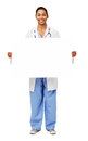 Portrait Of Smiling Doctor Holding Blank Billboard Royalty Free Stock Photo