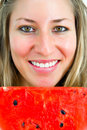 Portrait of a smiling girl with water-melon Stock Photography