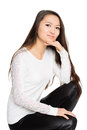 Portrait of a smiling girl in a white jersey mixed race asian caucasian Stock Photos