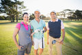 Portrait of smiling golfer friends Royalty Free Stock Photo