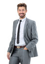 Portrait of a smiling handsome business man  over white backgrou Royalty Free Stock Photo