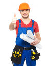 Portrait smiling handyman tools paper showing thumbs up sign isolated white background Royalty Free Stock Photo