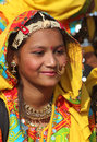 Portrait of smiling Indian girl at Pushkar camel fair Royalty Free Stock Photography