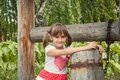 Portrait of a smiling little girl on background an old well Stock Photography
