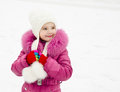 Portrait of smiling little girl in winter day outdoor Stock Photography