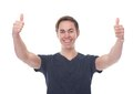 Portrait of a smiling man with thumbs up close Stock Photography