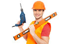 Portrait smiling manual worker tools isolated white background Royalty Free Stock Photo