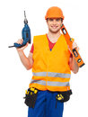 Portrait smiling manual worker tools isolated white background Royalty Free Stock Photos