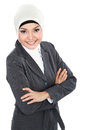 Portrait of smiling muslim business woman isolated over white background Royalty Free Stock Images