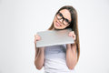 Portrait of a smiling pretty girl holding laptop Royalty Free Stock Photo