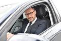 Portrait of smiling taxi chauffeur Royalty Free Stock Photo