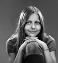 Portrait of a smiling teen girl, black and white Royalty Free Stock Photo
