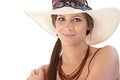 Portrait of smiling woman in hat Royalty Free Stock Photo
