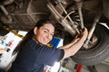Portrait of smiling young female mechanic Stock Image