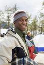 Portrait of a smiling young man at campsite african american men the Royalty Free Stock Image