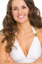 Portrait smiling young woman swimsuit isolated white Stock Photography